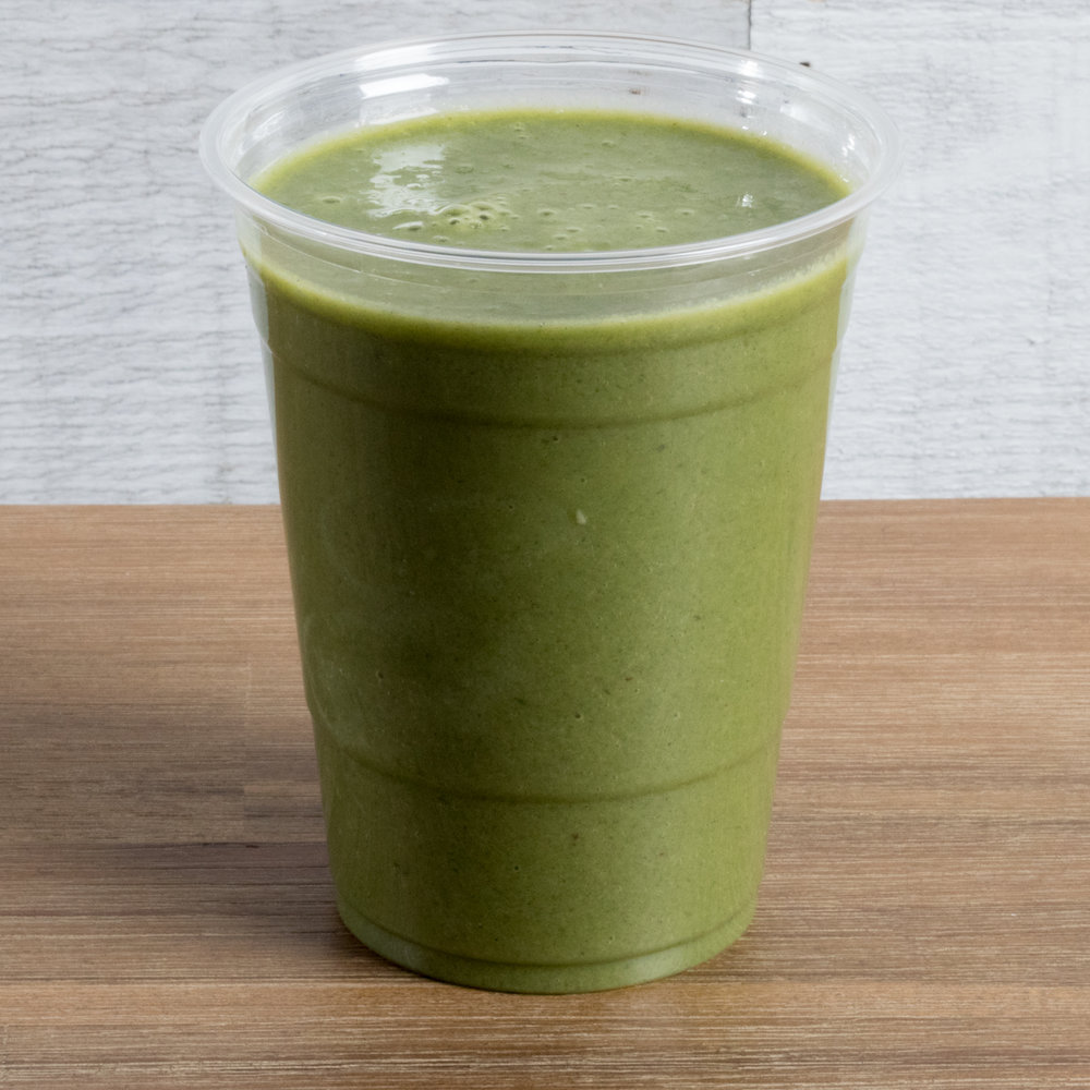 Delicious Detox (Vata, Pitta) Includes: Pineapple, banana, spinach, almond milk, chlorella, date
