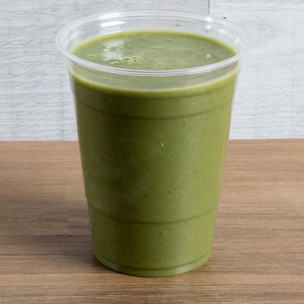 Delicious Detox (Vata, Pitta)    Includes:  Pineapple, banana, spinach, almond milk, chlorella, date