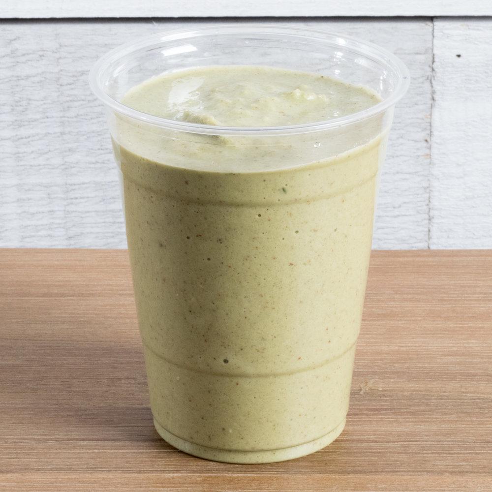 Power Lunch (Vata, Pitta)    Includes: Spinach, banana, almond butter, protein powder, almond milk, date, sea salt