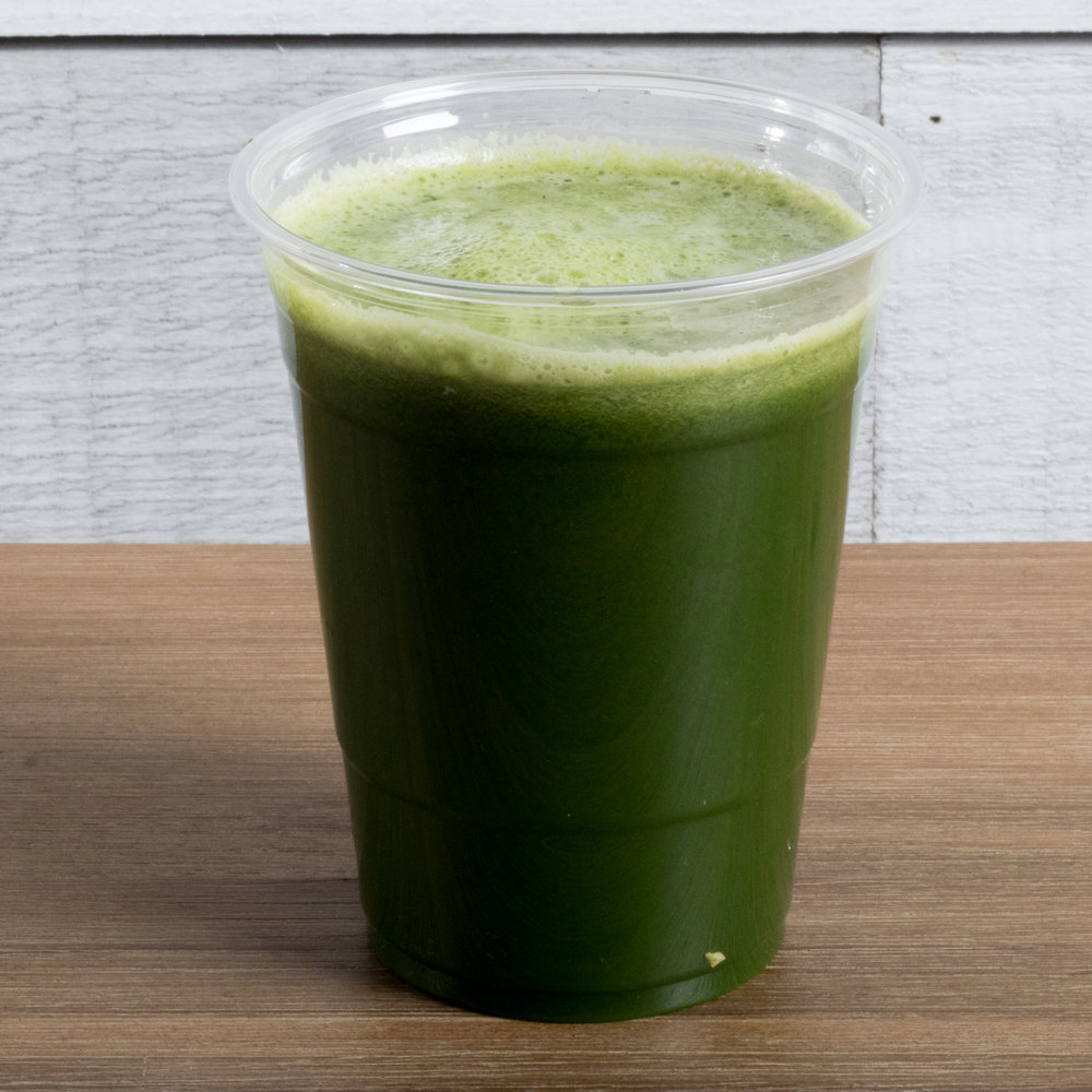 Love Your Liver (Pitta, Kapha)    Includes: Kale, dandelion, parsley, cilantro, apple, lemon, ginger   Benefits: anti-inflammatory, heavy metal detoxifier, immune support, adrenal support