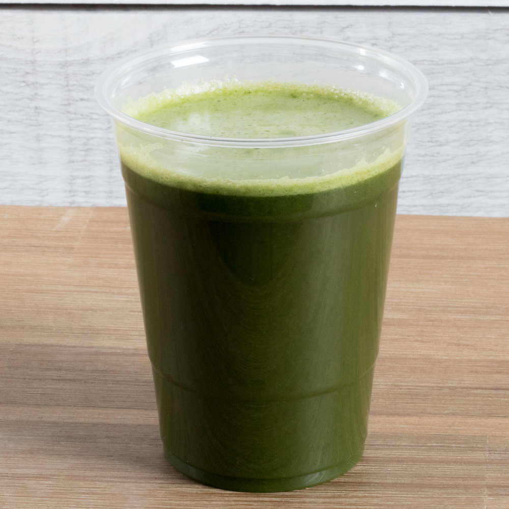 Green Giant (Vata, Pitta)    Includes:  Cucumber, celery, spinach, kale, swiss chard, romaine, parsley, lemon, lime, mint   Benefits:  adrenal support, detoxifying, anti-inflammatory, GI support, Immune support, beautifying, hydrating, oral support