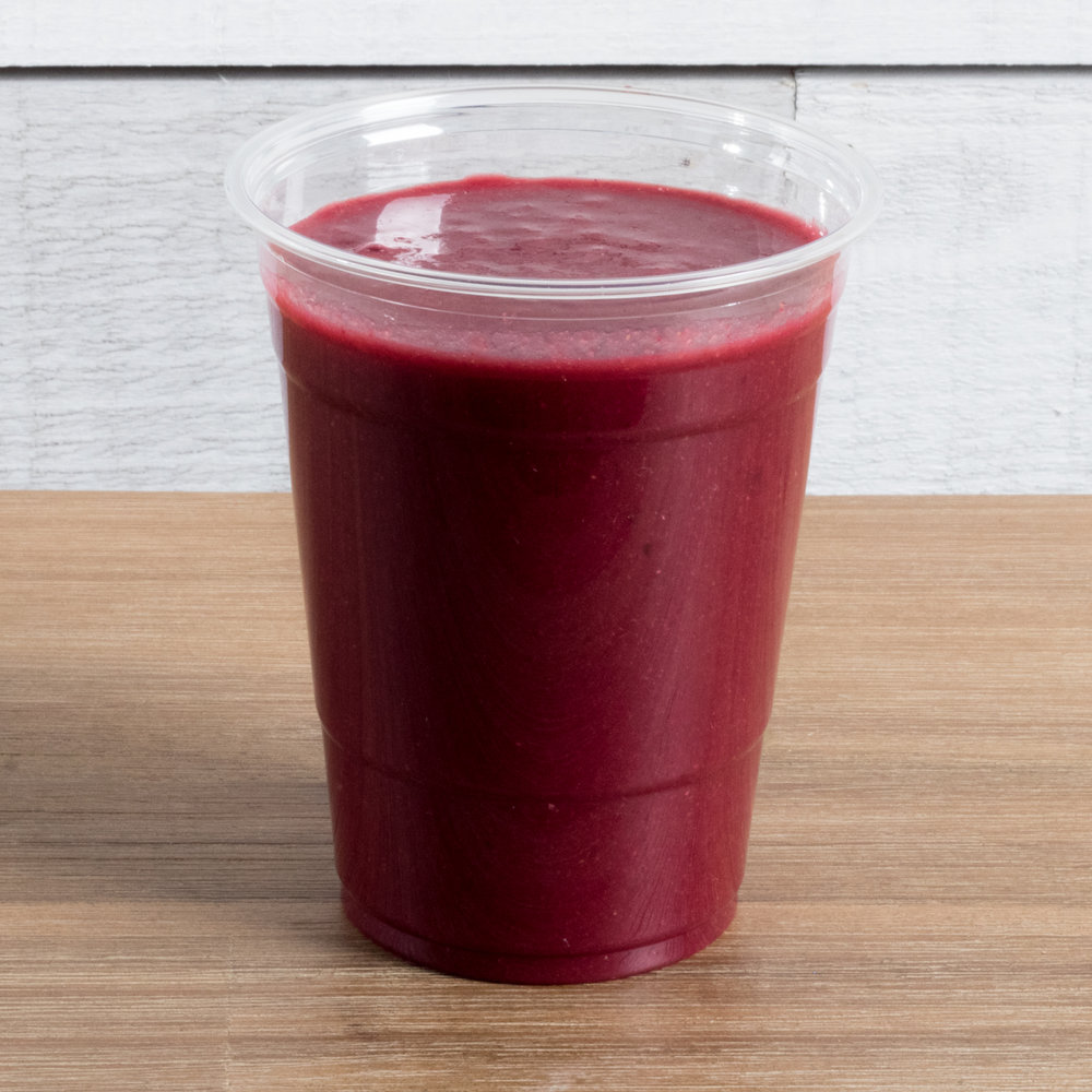 Feel the Beet (Vata, Kapha)    Includes:  Beet, strawberry, acai, orange, coconut water, date, sea salt