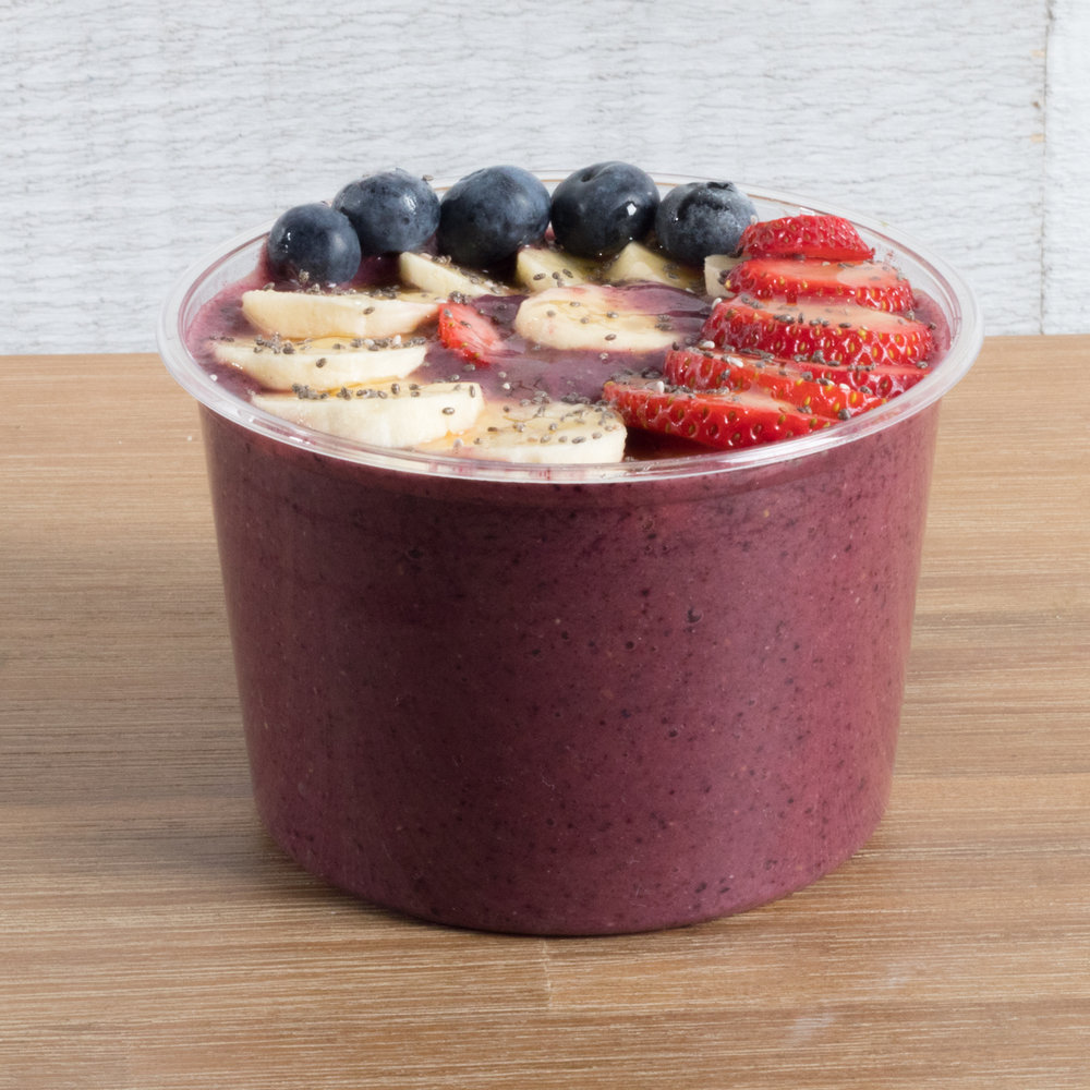 Berry Blast   Acai, Blueberry, Raspberry, Strawberry, Banana, Cashew milk, Dates  Top with: sliced banana, strawberry, blueberry, chia seeds, drizzled with raw honey