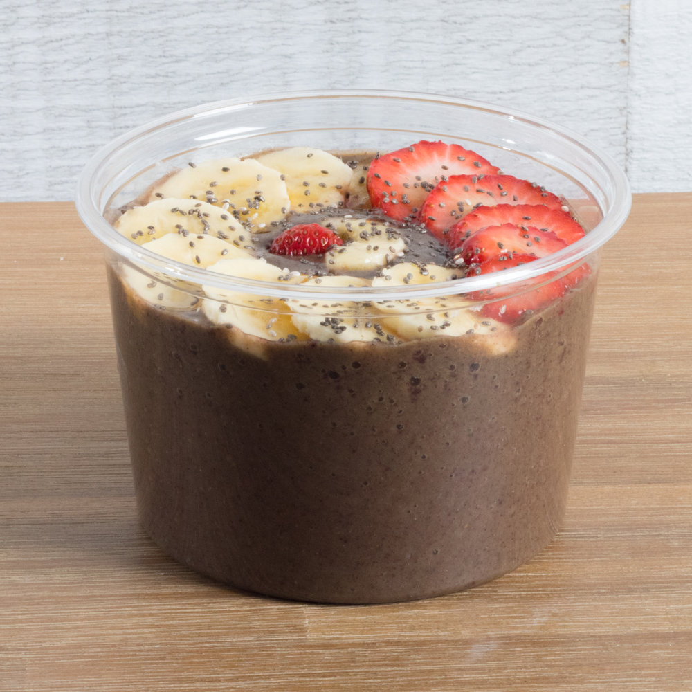 Green Goddess   Acai, Spinach, Kale, Banana, Strawberry, Cashew milk, Dates  Top with: sliced banana, strawberry, chia seeds, drizzled with raw honey