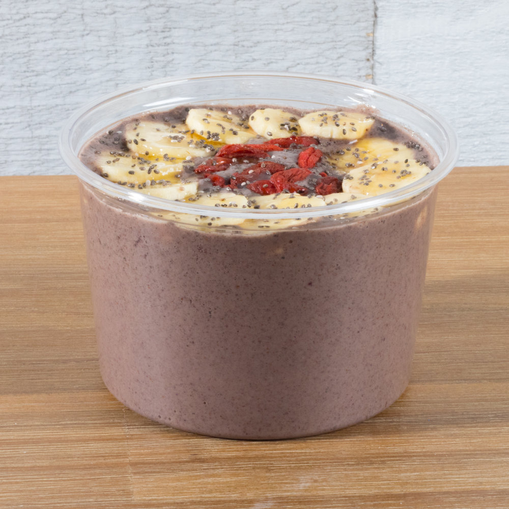 Recovery Mode   Acai, Banana, Almond butter, Protein powder, Dates  Top with: sliced banana, goji berries, chia seeds, drizzled with raw honey