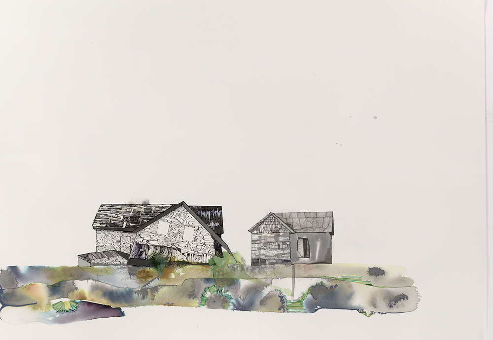 "Last House on Holland Island - 22""x 30, ink, gouache, graphite on paper, 2015"