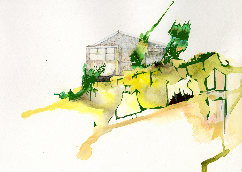 "Nantucket 1 - 11""x 15"", ink, gouache, graphite on paper 2015"