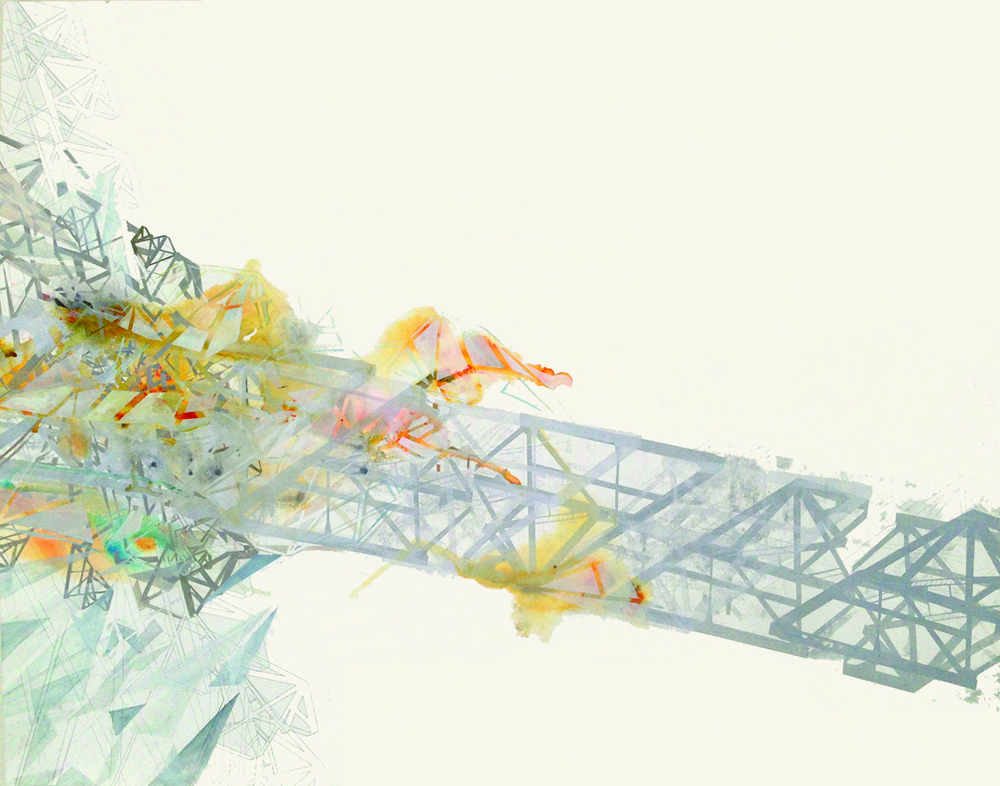 Hughen/Starkweather,   Valediction 4   (from the Bay Bridge Project), 38hx50w inches, Ink, pencil, and gouache on paper, 2013