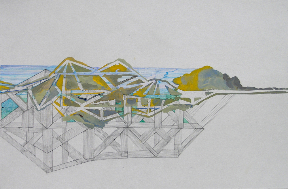 "Hughen/Starkweather, Requiem 8 (from the Bay Bridge Project), Gouache, pencil, and ink on paper, 8.25""h x 12 3/8""w, 2013"
