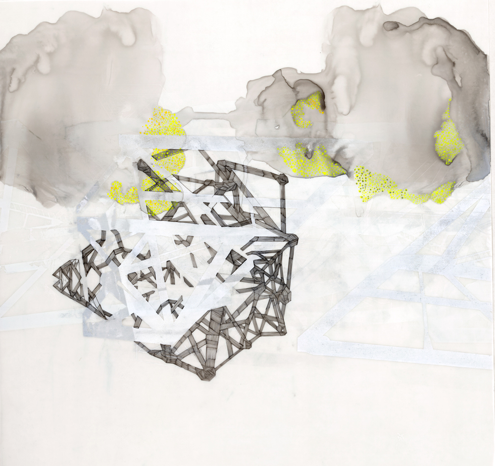 "Hughen/Starkweather,   Requiem 14   (from the Bay Bridge Project), Gouache, pencil, and ink on mylar, 18 x 18.5""w, 2013"