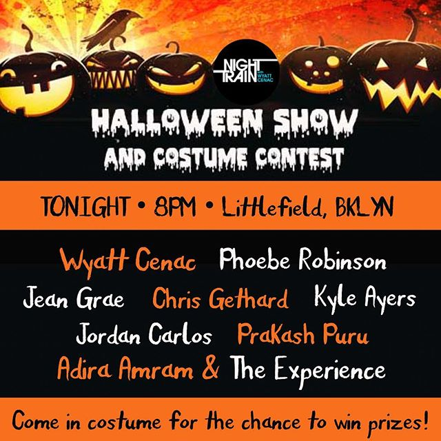 Comedy! Costume Contest!  Candy! We've got it all. Come in costume tonight for your chance to win some excellent prizes. Plus of course we've got some of our favorite performers for the penultimate Night Train show! 👻🎃🍬 #nighttrainshow #comedy #brooklyn