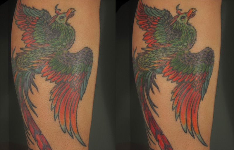 Note the differences in clarity, depth, and definition in the tattoo before Revita Color is applied (pictured left) and after application of Revita Color (pictured right) after just one application cycle to the untreated tattoo.