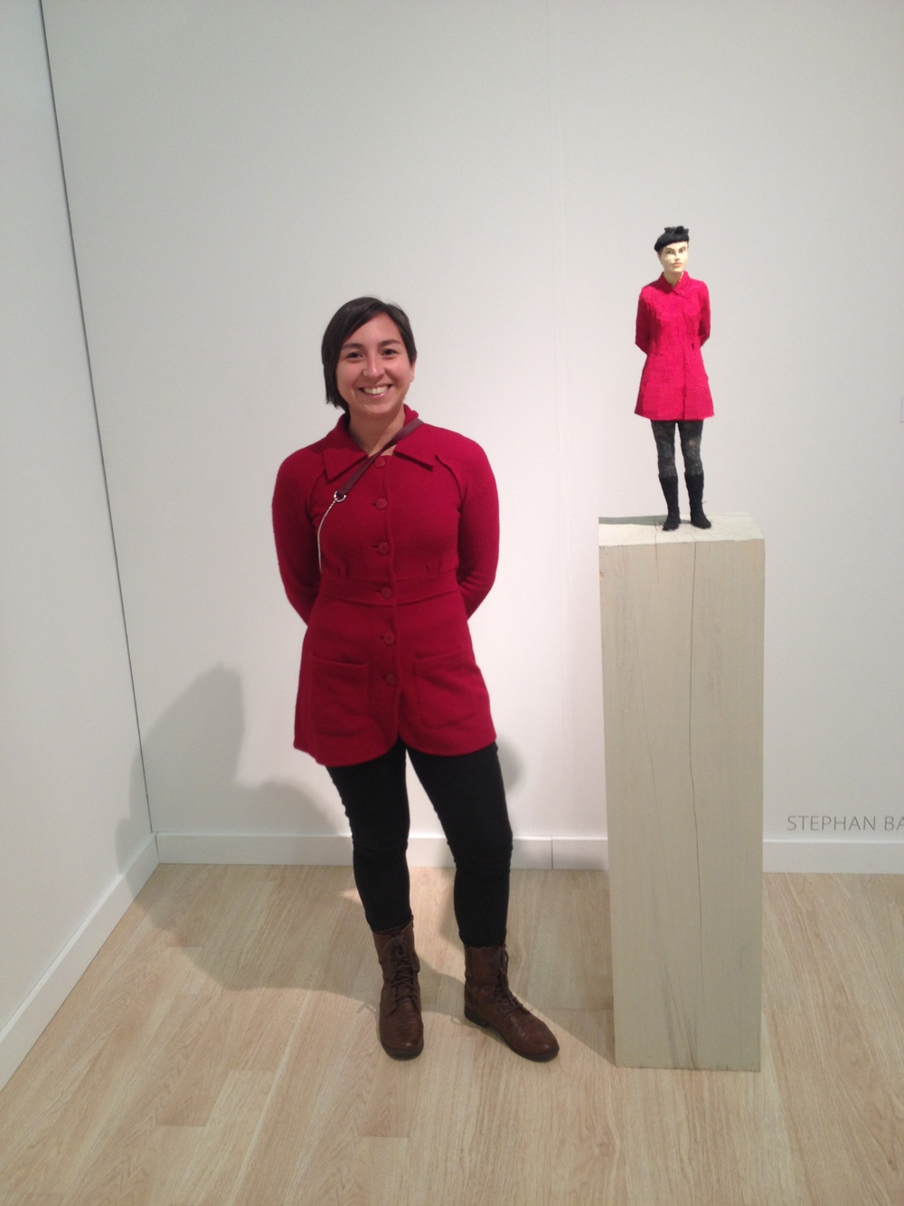 "We were very excited to stumble upon a doppleganger statue of me! This piece is by  Stephan Balkenhol  and is appropriately titled ""Woman with Red Jacket"". Find out more about  Stephan Balkenhol ."