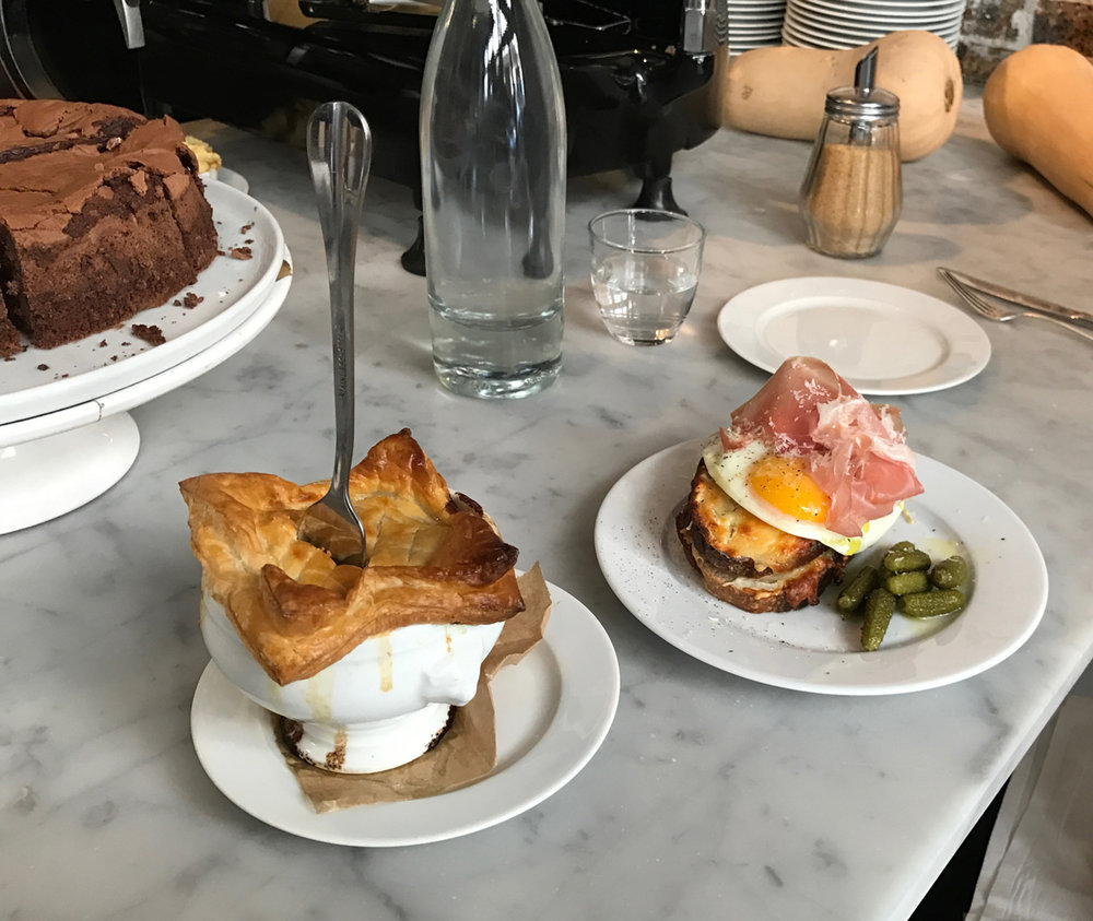 Favorite brunch place in the world - Buvette! We first visited Buvette at their NYC location and it only felt natural to visit their Paris location as well, of course. On the left was their chicken pot pie special and on the right the croque madame.