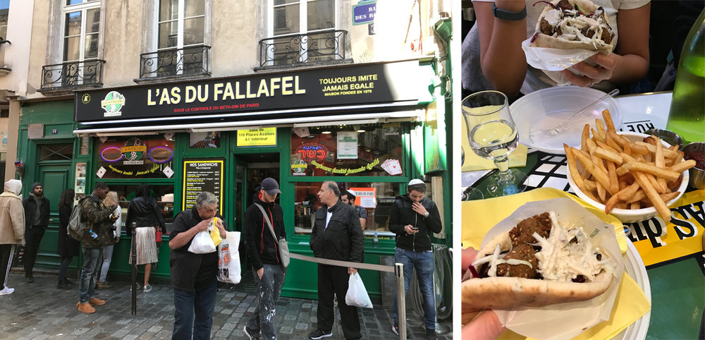 Part two of the Falafel-off! We went back to L'as du Fallafel. Look at that man, he can't even wait to sit down to eat this falafel! Once we tried it, we knew why. The  clear winner.