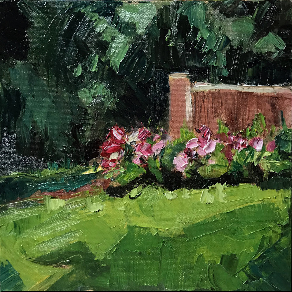 Afternoon Garden , 8x8, oil on linen panel