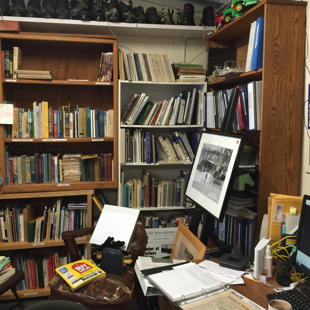 The library fills a more organized section of the Donner Summit Historical Society. photo by Christopher Langley