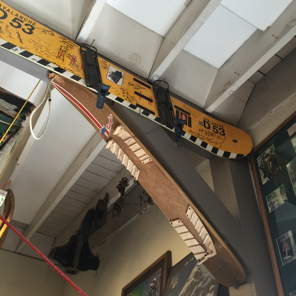 Signed snowboards on display in the Historical Society Museum. Photography by Christopher Langley.