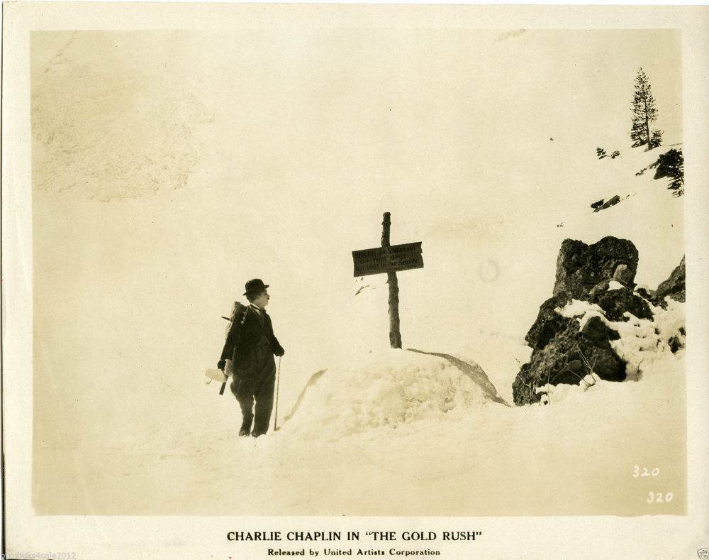"A an original  movie still from Charlie Chaplin's masterpiece ""The Gold Rush"" with scenes filmed at Donner Summitt."