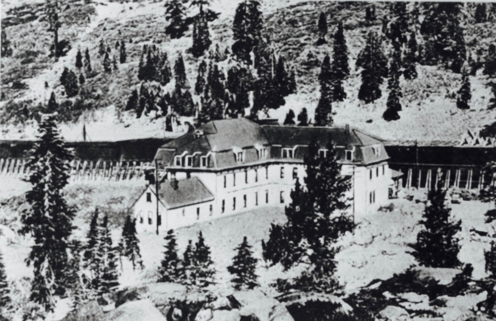 At the Donner Summit Hotel where Chaplin got the room between Lita and her mother.
