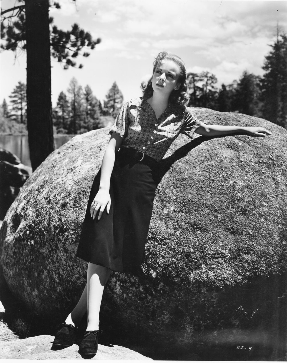 "This publicity still of Marie (Ida Lupino) was probably shot at Lake Arrowhead where ""High Sierra"" also filmed."