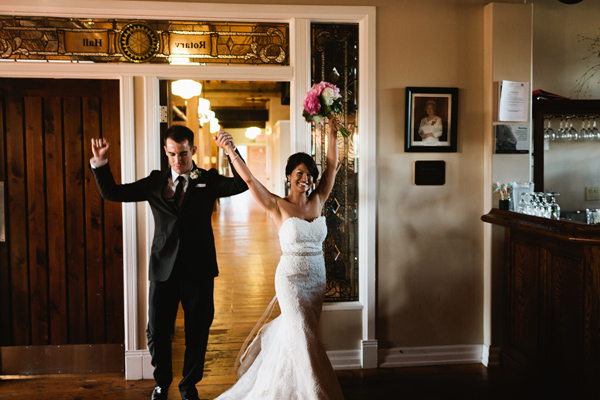 Bride and Groom grand entrance to the gibson centre alliston ontario
