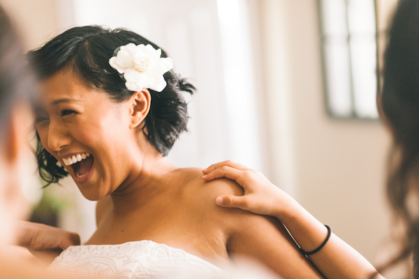 bride laughing getting ready at aurora wedding