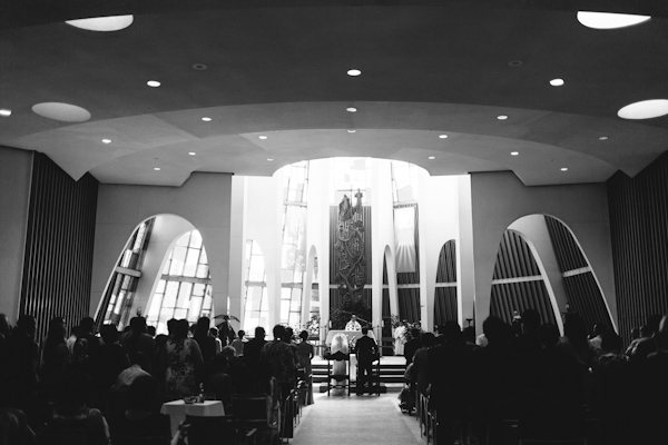 wide shot of church