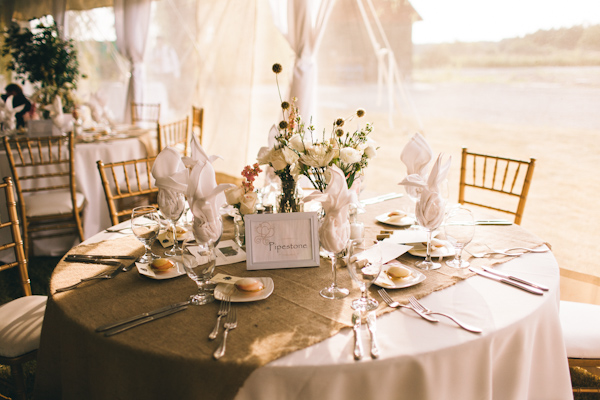 tent wedding centrepiece at willow springs winery