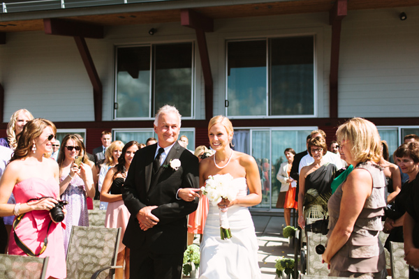 bride at parry sound wedding ceremony at The Stockey Centre