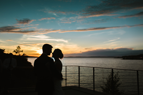 sunset first dance at parry sound wedding.