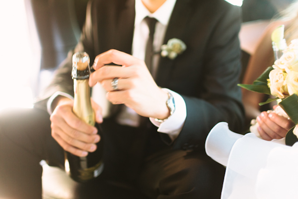 opening champagne at wedding ceremony