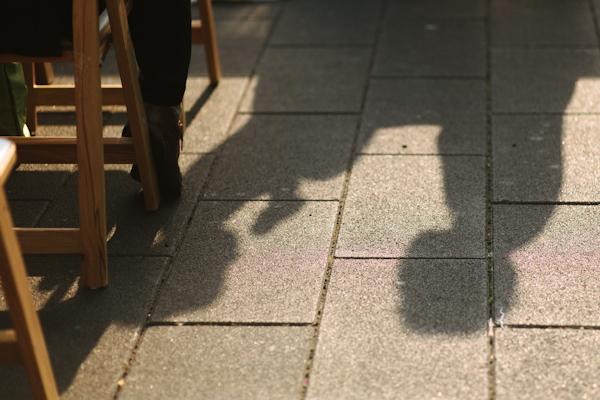 shadows of bride and groom