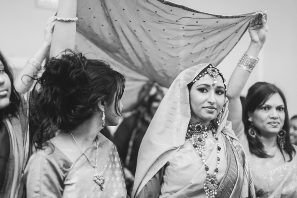 bride's entrance at south asian wedding