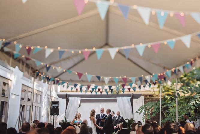 wide shot of entire wedding ceremony