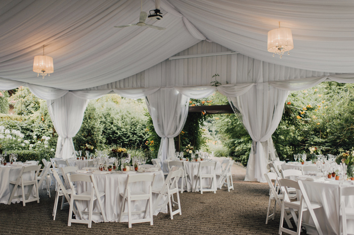 tented wedding reception set up