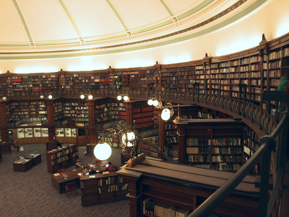 The Picton Room in Liverpool Central Library, housing The Windows Project Small Press Library (top right).