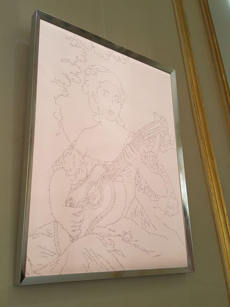 La Leçon de Musique, Marc Molk, 2015, calligramme, encre de chine sur papier, 65 x 50 cm