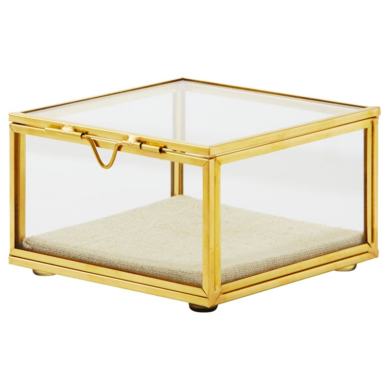 $29.50 CAD Gold Glass Square Display Box - Small