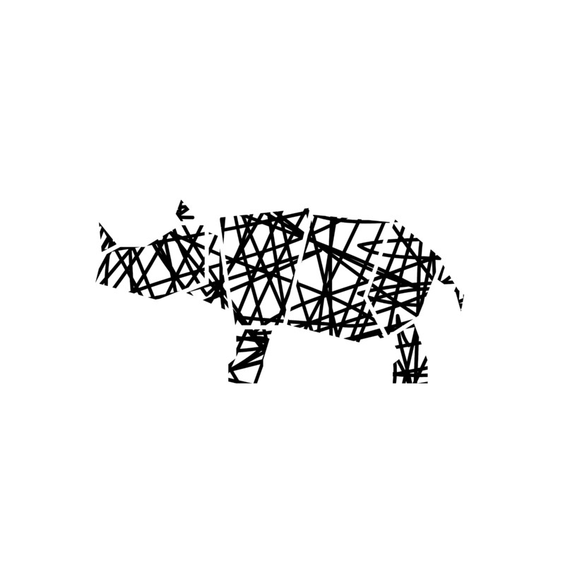 $22+  Modern Abstract Rhino Scribble Print, Noelle Stolworthy