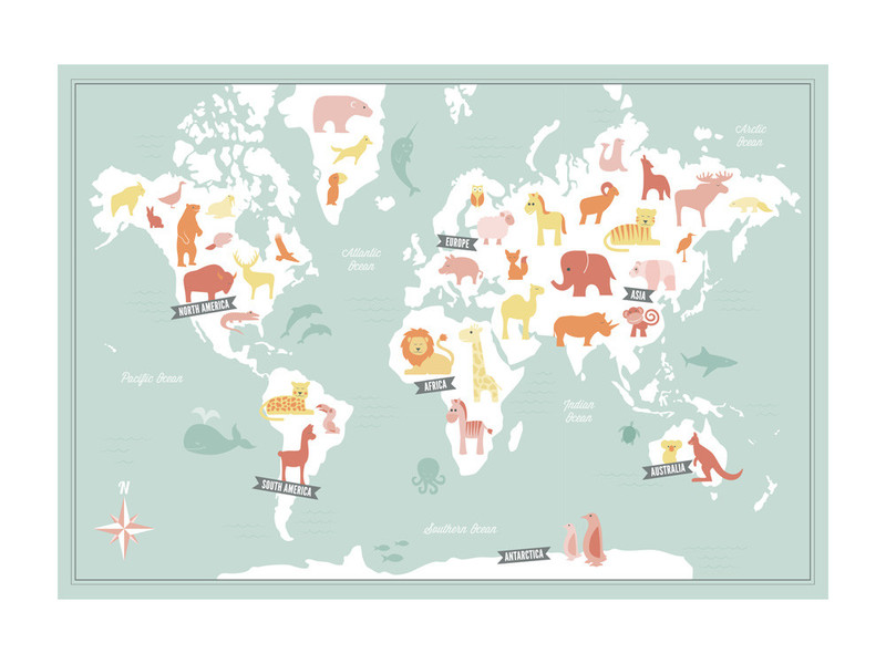 $20+   Animal World Map, Jessie Steury
