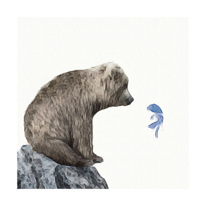 $22+ Blue Fish Wish Print, Maja Cunningham