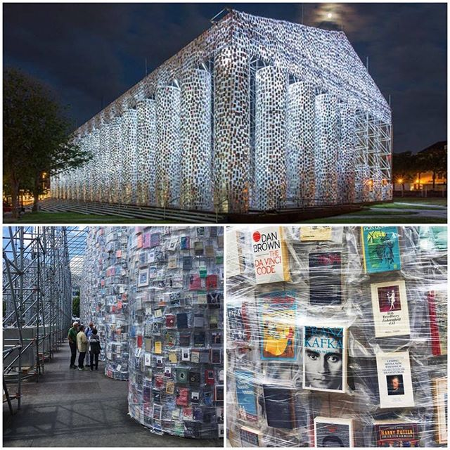 """Argentinian artist Marta Minujín, 74, has created a monumental replica of the Greek Parthenon from 100,000 copies of banned books. According to the artist, it symbolizes the resistance to political repression.  The Parthenon of Books in Kassel, Germany is part of the Documenta 14 art festival. With the help of students from Kassel University, Minujín identified over 170 titles that were or are banned in different countries around the world, and constructed the full-size replica of the iconic temple from those books, plastic sheeting, and steel.  Germany's most controversial book - Adolf Hitler's """"Mein Kampf"""" - will not figure on the Parthenon. And for a good reason: the Nazis were notorious censors of books. In fact, Minujín's work stands on a historic site where the Nazis burnt some 2,000 books in 1933 as part of a very broad campaign of censorship . . . . . #Argentinianartist #MartaMinujín #GreekParthenon #bannedbooks #politicalrepression #Kassel #Germany #Documenta14 #artfestival #KasselUniversity #artinstallation  #censorship #publicart #artist #panthenonofbooks"""