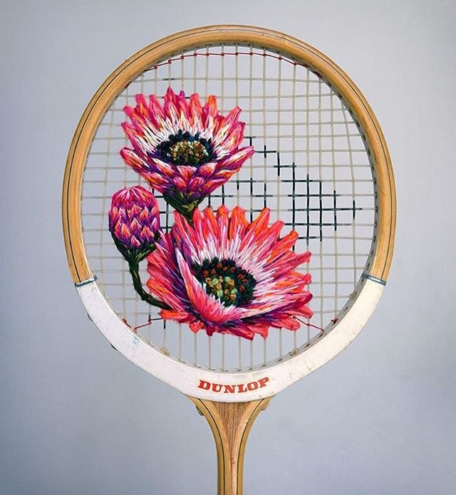 More than a little obsessed with the embroidered racquets of the talented @fiance_knowles aka Danielle Clough . . . #danielleclough #embroidery #embroideryart #badminton #whataraquet