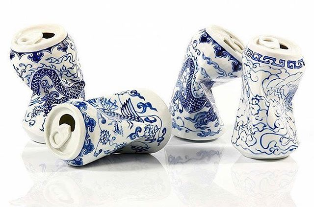 Looks at these gorgeous 'crushed' porcelain cans by #LeiXue . . . . #sculpture #leixue #porcelain #artist