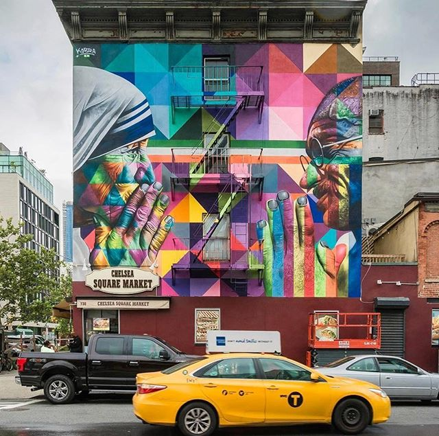 "#Repost @timeoutnewyork - See a technicolored mural in #NYC lately? It's likely the work of @kobrastreetart, whose pieces are anything but easy to miss. His latest, titled ""Tolerance,"" pays homage to Gandhi and Mother Teresa. Check it out at the corner of 18th Street and Tenth Avenue in Chelsea. 📷: @nyclovesnyc . . . . . . . . . . . . #kobrastreetart #Gandhi #MotherTeresa #Chelsea #nyc #newyork #newyorkart #streetart #publicart #mural #nyart #kobra #urbanart"
