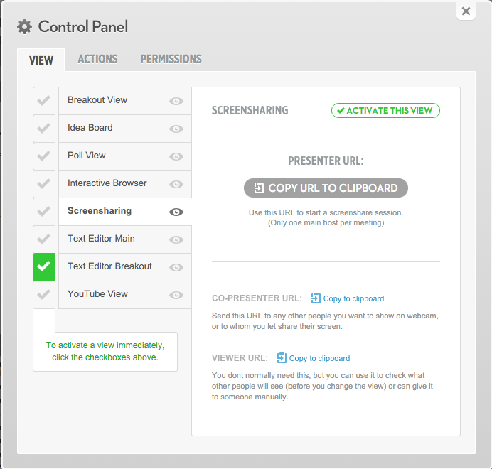 The current Social Webinar control panel, used by presenters to manage what is visually shared with the audience.