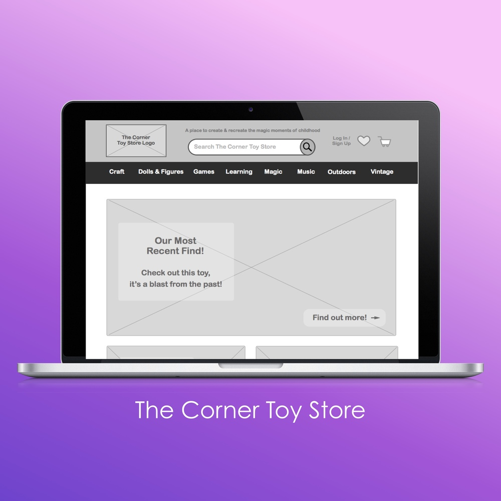 The Corner Toy Store home page.
