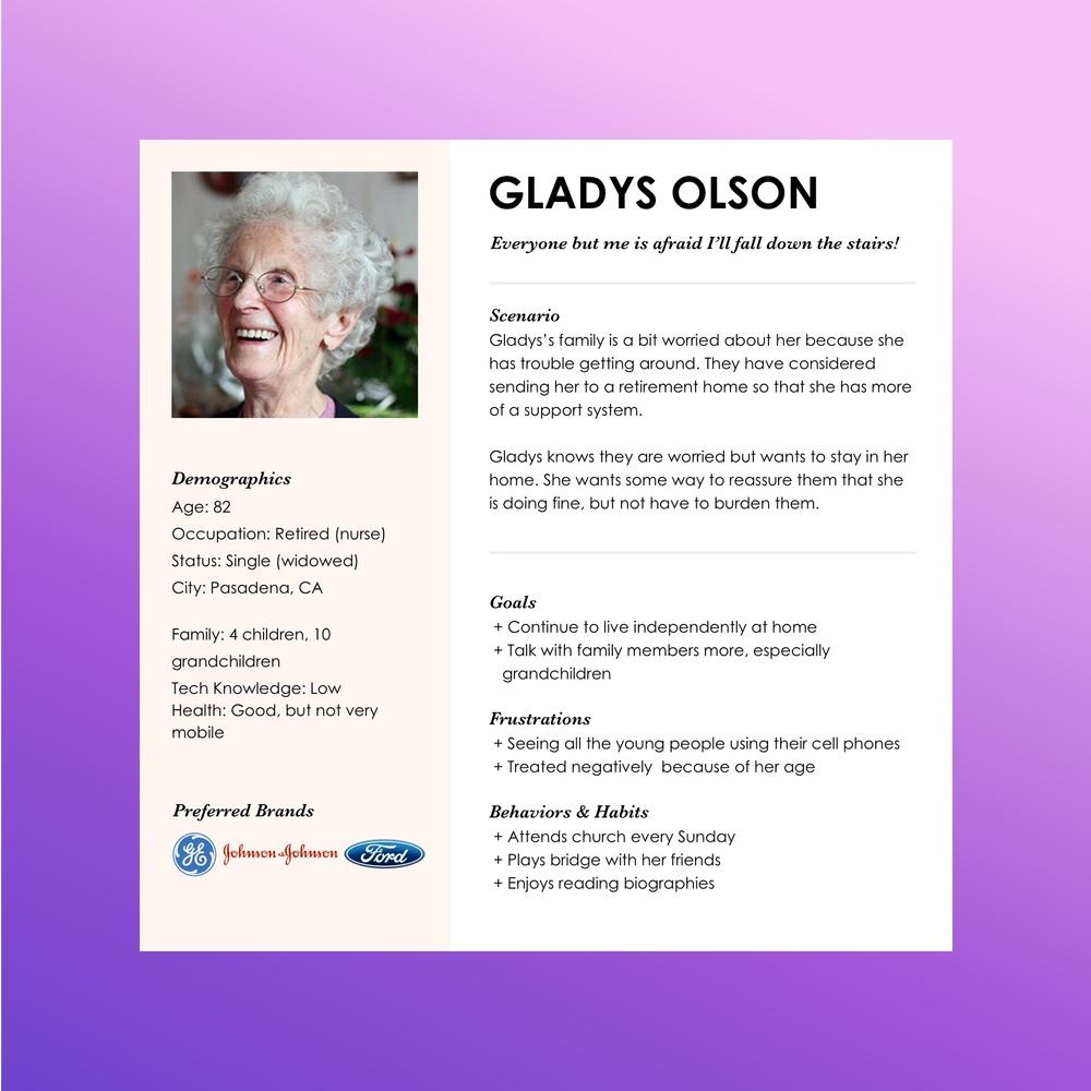 Persona for Gladys Olson, a senior