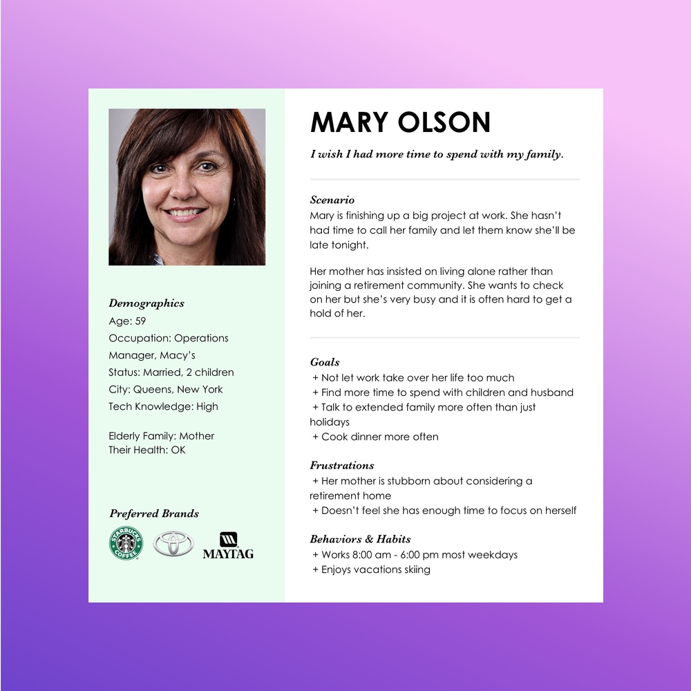 Persona for Mary Olson, a family member